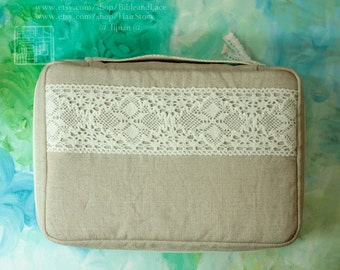 Book cover, Hobonichi cover handle bible cover Journal Cover with fine cotton lace detail ,linen,cotton, custom made,