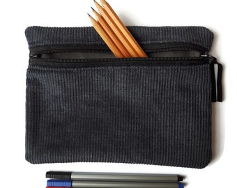Pencil case / zipper pouch /cosmetic bag Charcoal grey corduroy and Grey