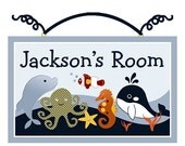 Ocean Blue/Fish/Octopus/Whale/Seahorse/Dolphin Wood Door Sign/Plaque Nursery Decor/Baby/Kids/ Personalized with any Name or Text So Cute