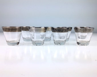 Mid Century Barware Glasses, Eight Glasses, Mad Men Style Home Decor, Rose Flower Cocktail Set, Mid Century Modern Barware, Mod Bar