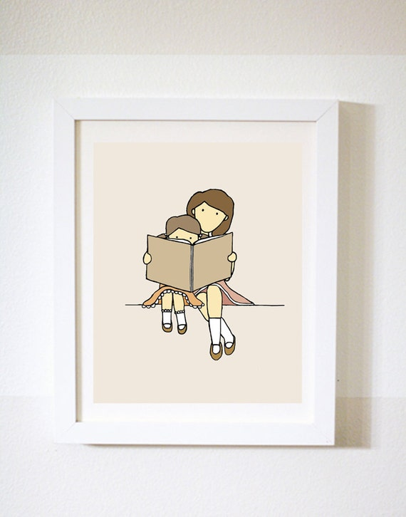 Read me a Story, Children's room art, Nursery Art Picture, Baby's bedroom Illustration, Girl's room print, Reading corner