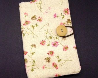 Passport sleeve, passport cover, fabric passport case, pouch - Pink flowers (Ps9)
