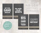 Sports Party Signs - Game Face - INSTANT DOWNLOAD by Beth Kruse Custom Creations