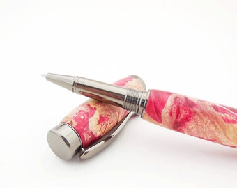 Wood Pen Made With Red Box Elder Burl, Handmade Wood Pen