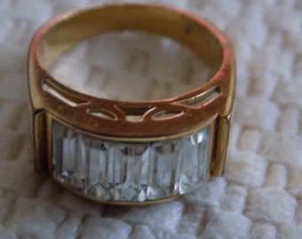 Vintage ring, size 8 crystal baguette and gold plate elegant ring, jewelry