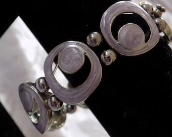 """Vintage bracelet, signed """"Km"""" lavender enamel station 7 inch stretchy bracelet,jewelry"""