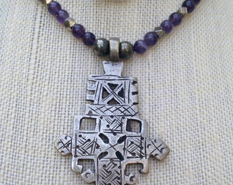 Ethiopian Coptic Cross with Amethyst and Hematite Beads