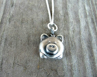 Pig Necklace - Pig Pendant  - Pig Jewelry - Vegan - Pig Lovers - Animal Jewelry - Mini Pigs