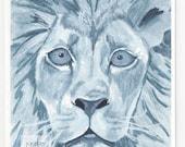 Lion - 5x7  Giclee Print -  Monkey Brains - monkeybrains - monkeybrainsdesign