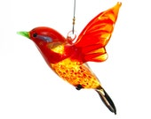 Orange Glass Lampwork Songbird - Great Birthday Gift and Figurine Collectable