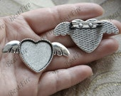 4 pcs Antique silver filigree Luster heart(base 25mm )  wings charm Brooches ,wings Brooch Back Base, Bezel Setting Match