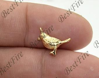 2pcs 24K Gold filled Brass Charm Bird Pendant Findings,necklace Findings,Jewelry findings,bracelet findings,earrings findings