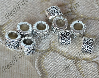 12 pcs Antique silver Hole Barrel Bead distance piece ,metal beads spacers finding beads, spacers finding beads charm