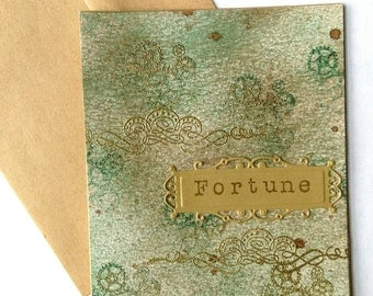 Fortune St Patrick's Day Gilded card with envelope Shimmer cardstock Gold Embossed Design Steampunk