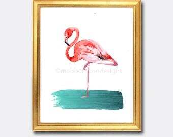 Pink Flamingo Watercolor Art Digital Art Print, INSTANT DOWNLOAD, Beach Art Printable, Home Decor, Coastal Decor, Bird Art, Gallery Wall