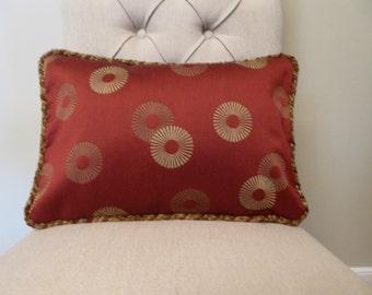 Burgundy circle pillow cover