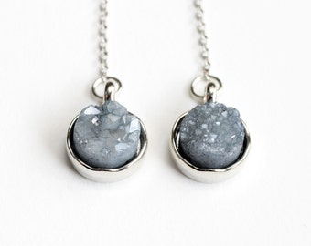 Grey Druzy Earrings, Crystal Long Silver Chain Dangle Earrings