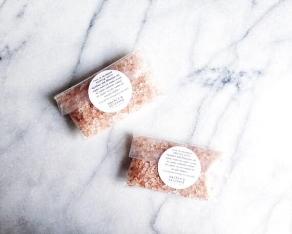 rose & cardamom bathing salts - Himalayan pink bath salts, organic coconut and sesame oils - sample