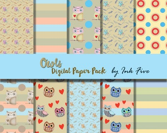 Digital papers Owls scrapbooking paper. Scrapbook instant download paper for card making, invites, scrapbooks. Owl printable papers jpgs.