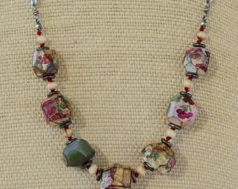Flower Bead Necklace, Primitive Bead Necklace, Silver Sequin Chain Necklace, OOAK Necklace, Artisan Necklace, Floral Bouquet Necklace
