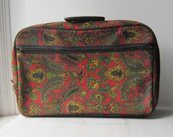 ON SALE Vintage Paisley Suitcase with Key