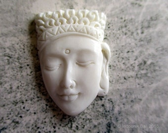 Buddha Head Carved Bone Cabochon 28mm