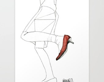 Red Shoe - Original Drawing Art  Illustration  Fashion  Portrait  Woman Girl Pencil by Paul Nelson-Esch Free Worlwide Shipping