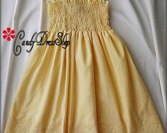 Yellow Beach flower girl dress, Beach wedding flower girl dress, yellow summer dress for girls, yellow party dress, yellow eyelet dress