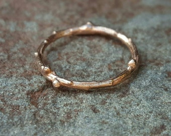 Womens Wedding Band 14K Rose Gold Band Gold Twig Band Rose Gold Twig Ring Women Wedding Band 14K Pink Gold Twig Ring Twig Band 14K Rose Gold