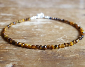 Tiger's Eye Bracelet Tigers Eye Bracelets Delicate Beaded Bracelets Girlfriend Gift for Women Metaphysical Jewelry Bead Bracelets Gemstone