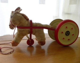 Chiltern Pony and Bells - Pull Toy 1950's - Chiltern Pull Toy with Label - Vintage Chiltern Toy