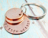Pennies From Heaven Keychain Key Chain Penny Hand Stamped Charm With 2 Pennies Stacked Penny 1950 to 2016 Memorial Remembrance Gift