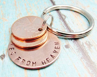 Pennies From Heaven Keychain Key Chain Penny Hand Stamped Charm With 2 Pennies Stacked Penny 1950 to 2017 Memorial Remembrance Gift