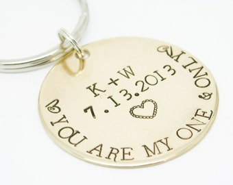 Keychain You Are My One & Only Key Chain Hand Stamped COUPLES Gift CUSTOM Personalized Wedding Anniversary Special DATE Initials