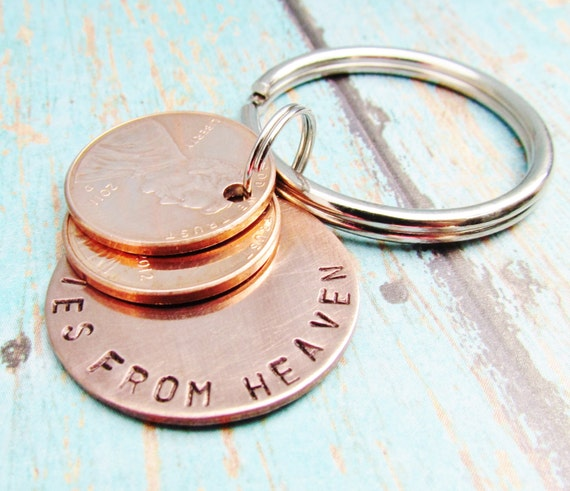 Pennies From Heaven Keychain Key Chain Penny Hand Stamped Charm With 2 Pennies Stacked Penny 1950 to 2018 Memorial Remembrance Gift