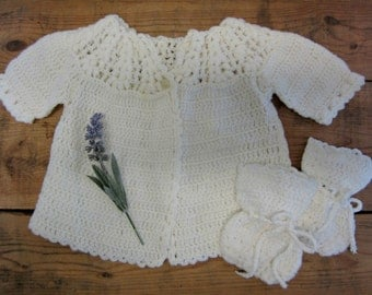 Vintage Hand Crocheted Baby Girl Sweater with Booties