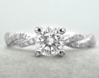 Diamond Engagement Infinity Ring - Infinity Diamond Engagement Ring - Infinity Knot Engagement Ring, Braided Rope Diamond Engagement Ring