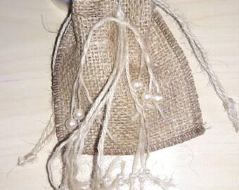 burlap bag, 10xSET Wedding Gift,jewelry bag, Natural Rustic Bag, Rustic gift bag, Country wedding, Burlap wedding, Candy Bag