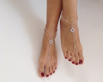 Zirconia barefoot sandals, wedding, Bikini, Bridal Sandals, Bridal Jewelry, shoes Women, Beach, READY TO SHIP