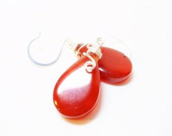 Earrings- Carnelian- Teardrops- Wire Wrapped- Gemstone- Handmade Jewelry
