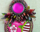 Strawberry Fields Bead Embroidery Pendant Daggers, Borosilicite glass, Luna cabochon Czech beads.