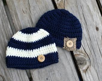 Baby Boy Hats - Boy Hats - Baby Hats - Striped Boy Hat - Photo Prop - Boy Hat Set - HIpster Boy Hat - Baby Shower Gift -  by JojosBootique