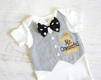 Mr. Onederful First Birthday Tuxedo Bodysuit Vest with Removable Bow Tie