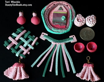 Handmade Poly clay  BEAD LOT SALE-   Whimsical, textile pinks and greens  11 beads - 4 pairs!!!!