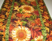 RESERVED FOR SUSAN Autumn Table Runner with Sunflowers, quilted, focus fabric from Henry Glass