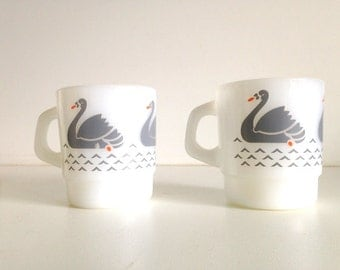Retro Galaxy Swan Mugs