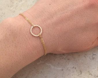 Tiny gold circle bracelet