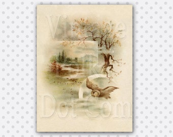 Vintage Clip Art Victorian Art Print Owl Digital Art Card Tree River in Mist Graphic Scrapbook