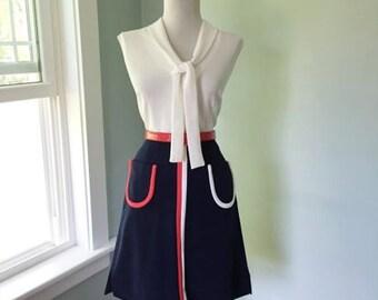 Vintage 1960s 1970s Hippie Rainbow Red White & Navy Blue  A-line GoGo Mod Skirt