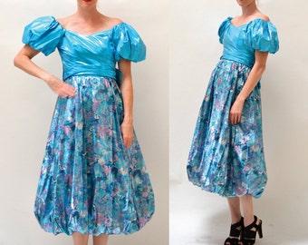 Metallic 80s Prom Dress Size XS Small Blue// Vintage 80s Party Dress Size Small blue Metallic Pageant Metallic Drag queen dress